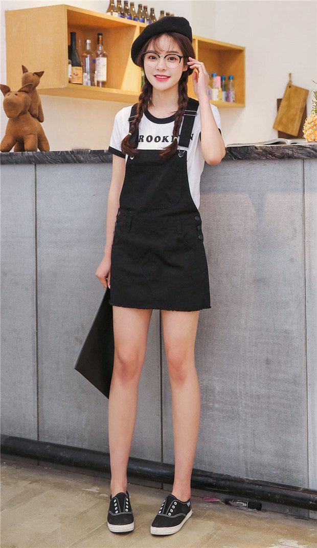 Korean Style Black Fitted Denim Overalls Dress